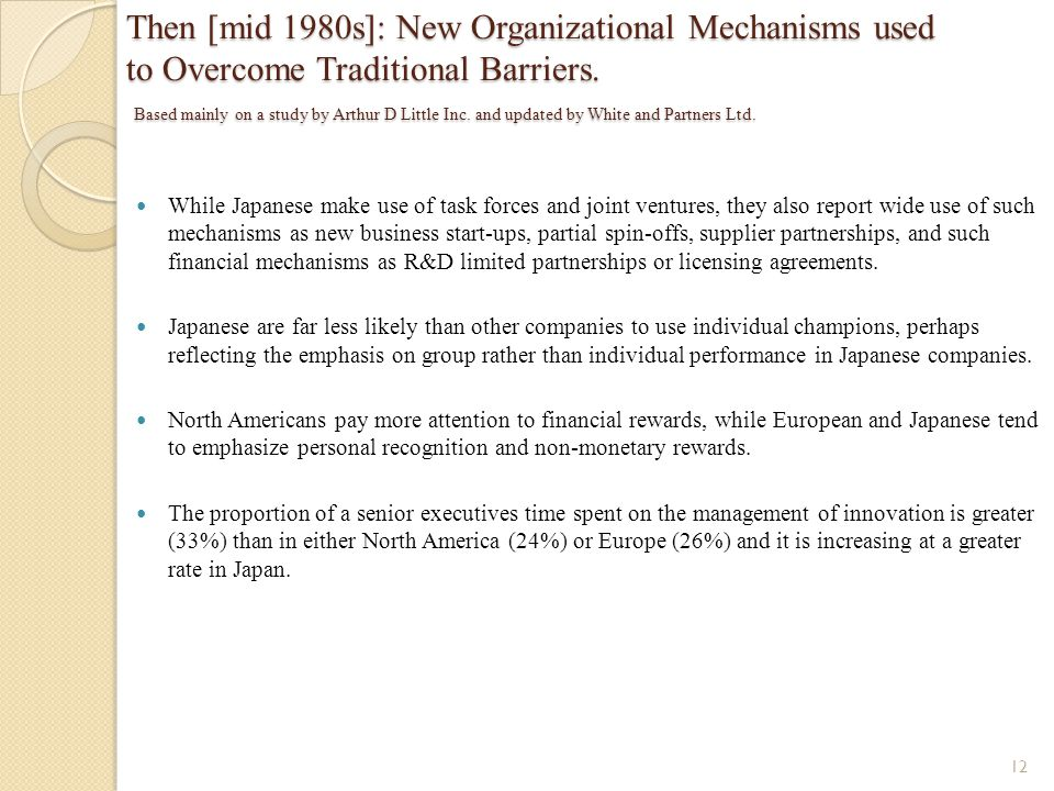 Then [mid 1980s]: New Organizational Mechanisms used to Overcome Traditional Barriers. Based mainly on a study by Arthur D Little Inc. and updated by White and Partners Ltd.